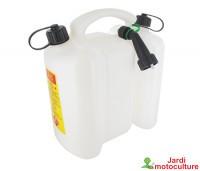 Jerrican double usage TECOMEC, blanc, d'une contenance de 3 + 6 litres.