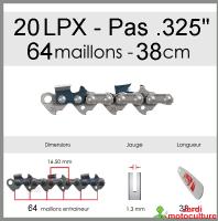"""Chaîne de tronçonneuse OREGON 20LPX064E .325"""" 1.3mm 64 entraîneurs"""
