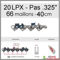 """Chaîne de tronçonneuse OREGON 20LPX066E .325"""" 1.3mm 66 entraîneurs"""