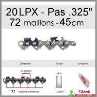 """Chaîne de tronçonneuse OREGON 20LPX072E .325"""" 1.3mm 72 entraîneurs"""