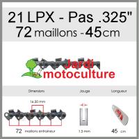 """Chaîne de tronçonneuse OREGON 21LPX072E .325"""" 1.5mm 72 entraîneurs"""